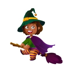 Cute Latina Girl Witch on the Broom Happy vector image