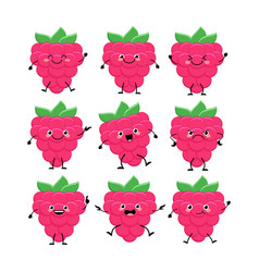 cute raspberry characters set with differen vector image