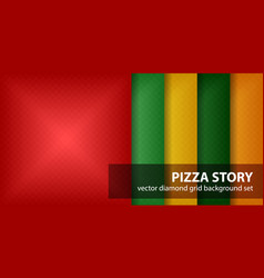 Diamond pattern set pizza story seamless vector