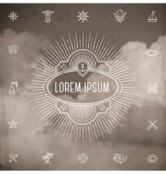emblem with sunburst and set travel line icons vector image