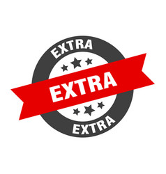 Extra sign extra black-red round ribbon sticker vector