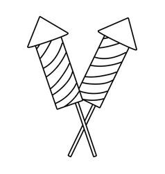 Firework rockets cartoon vector