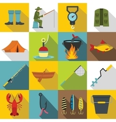 Fishing tools icons set flat style vector image