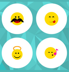 Flat icon face set cheerful delicious food vector