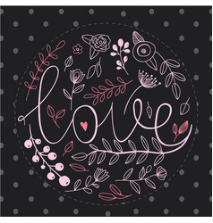 floral nature love sign with hand drawn elements vector image