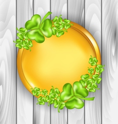Golden coin with shamrocks St Patricks day symbol vector image