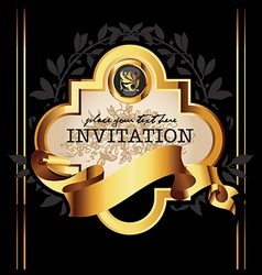 Golden royal lable on black background vector image