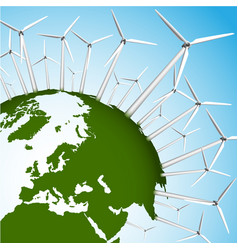 green earth and wind turbines concept eps10 vector image