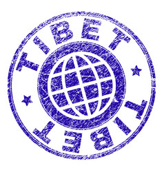 Grunge textured tibet stamp seal vector