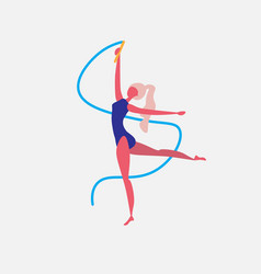 gymnast girl dance blue ribbon character vector image
