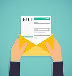 Hands holding mail with Paying bills Payment of vector