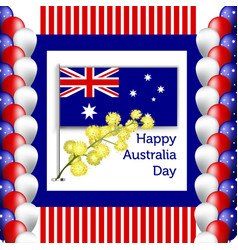 happy australia day poster festive wreath with vector image