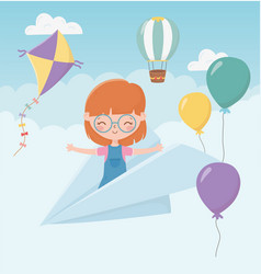 Happy childrens day smile girl on paper plane vector