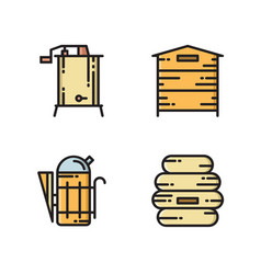 honey production icons - hive smoker extractor vector image