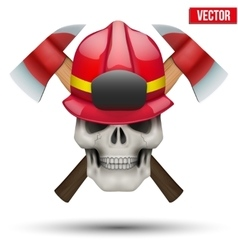 Human skull with firefighter helmet vector