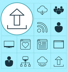 Internet icons set collection of storage upload vector