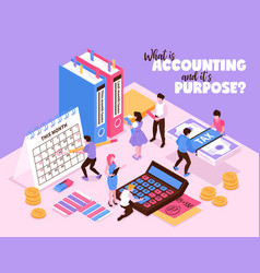 isometric accounting background concept vector image