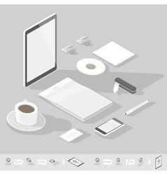 Isometric branding mock-up vector