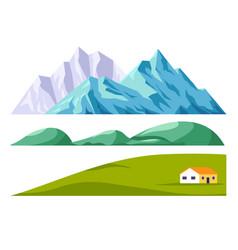 landscape constructor set with mountains and green vector image