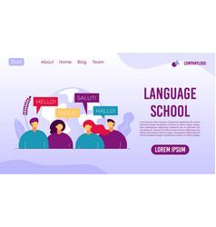 Language school translator agency landing page vector