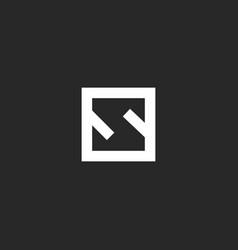 Letter s logo monogram minimal style square frame vector