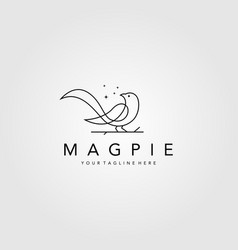 line art magpie bird logo symbol design vector image