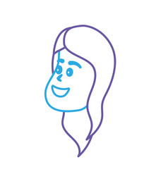 line avatar woman face with hairstyle design vector image