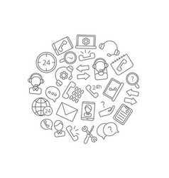 line call support center icons in circle vector image