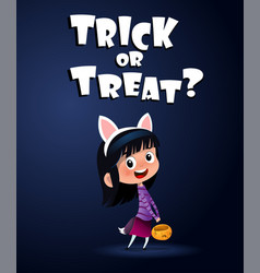 little cute witch with candy bascket halloween vector image