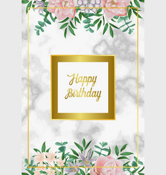 luxury happy birthday card with pink flowers vector image