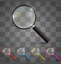 magnifying glass art set color vector image