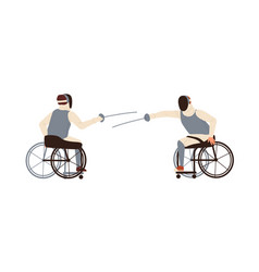 Male disabled athletes fencing sitting vector
