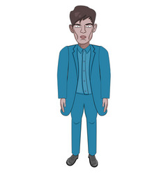 male model in a blue suit business style cartoon vector image