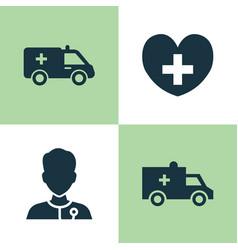 Medicine icons set collection of healer heal vector