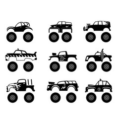 monster truck automobile big tires and wheels off vector image