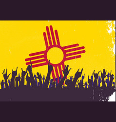 new mexico state flag with audience vector image