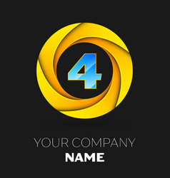 Number four logo symbol in colorful circle vector