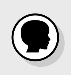 People head sign flat black icon in white vector