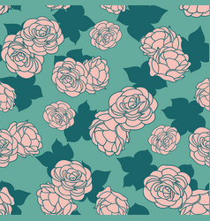 Pink green rose garden with shadow seamless vector