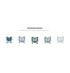 Reading quran icon in different style two vector