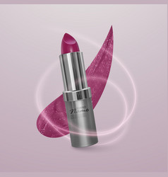 Realistic lipstick of bright cherry color with vector