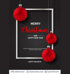 red christmas balls and frame on dark background vector image