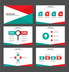 Red green presentation templates infographic vector