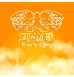 Reflection of the beach in sunglasses sunny orange vector image