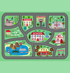 Road play mat for children activity entertainment vector