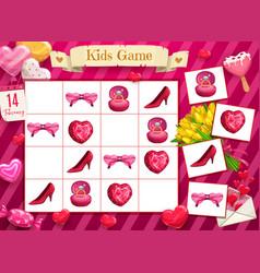 Saint valentine day child rebus logical game vector
