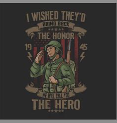 Salute american soldier heroes vector