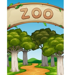 Scene with zoo and trees vector