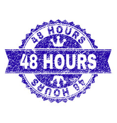 Scratched textured 48 hours stamp seal with ribbon vector