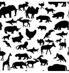 Seamless pattern farm wildlife animals silhouette vector